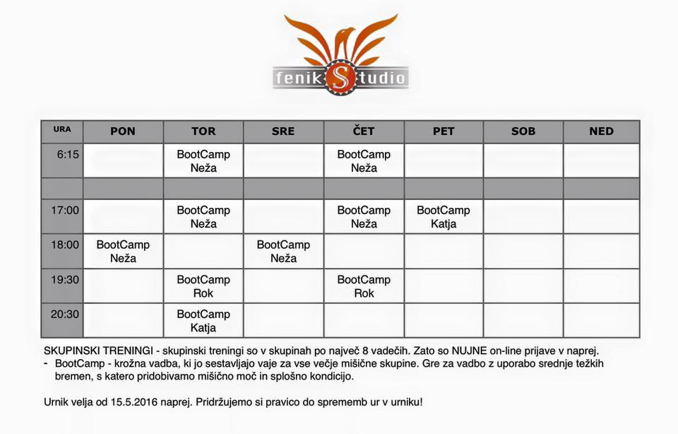 Feniks Studio urnik 0