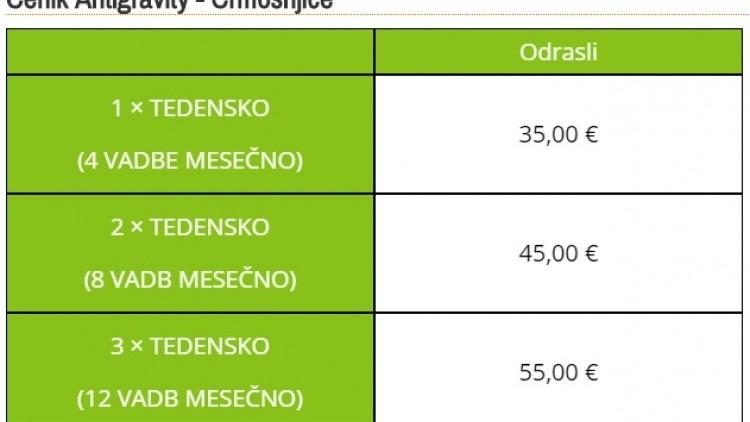 ŠPORTNI STUDIO NINA cenik 0