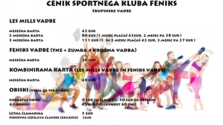 Športni klub  Feniks cenik 0